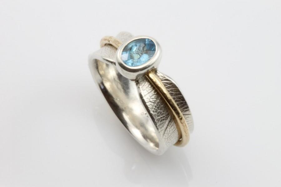 Свадьба - Stone Set Bodhi Leaf Spinner Ring, Topaz Ring, Leaf Ring, Meditation Ring,Recycled Silver