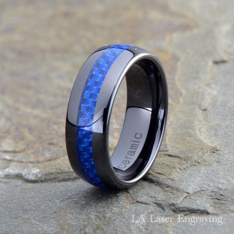 Ceramic Wedding Band Mens Ring Mens Wedding Bands Custom Made Rings Blue Carbon Fiber 8mm
