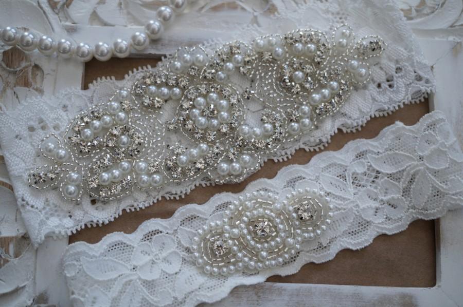 Wedding Garter Set Bridal Vintage Lace Crystal Pearl Style 200