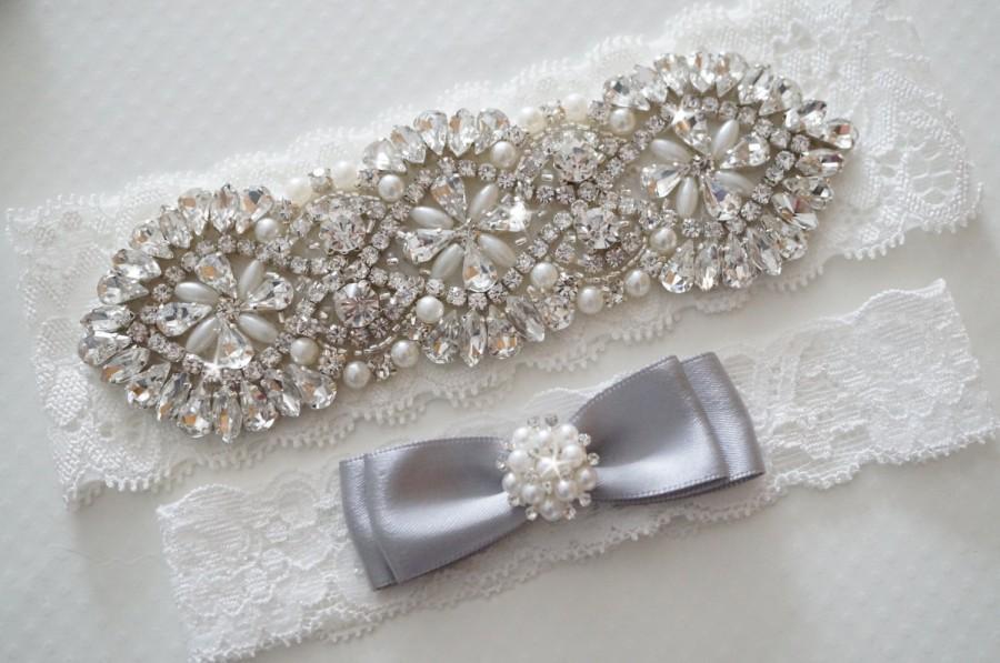 Свадьба - Wedding Garter Set, Bridal Garter Set, Vintage Wedding, Pearl Garter, Something Blue - Style 400