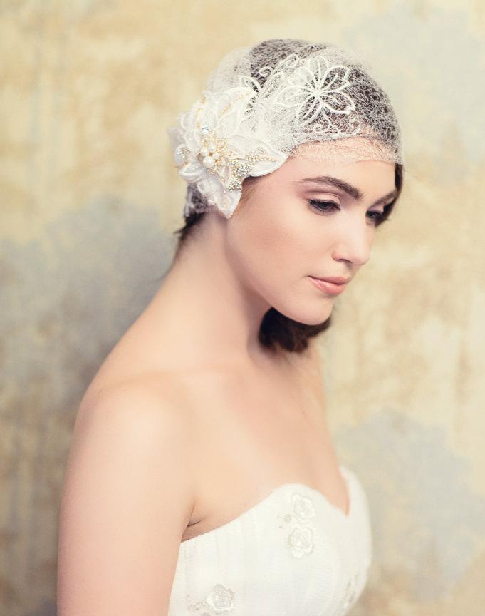 Свадьба - Lace Bridal Cap with Gold motifs , Ivory Lace Cap, Item 24