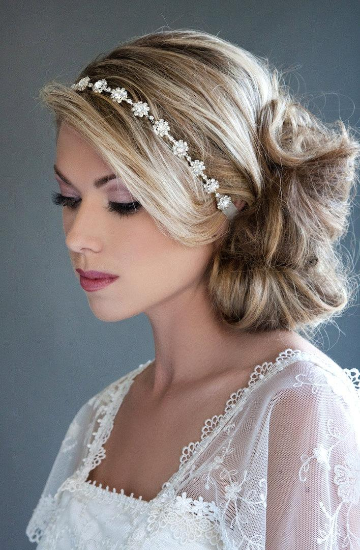 Hochzeit - Ready to Wear, Rhinestone Headband available in Silver, Bridal, Bridesmaid