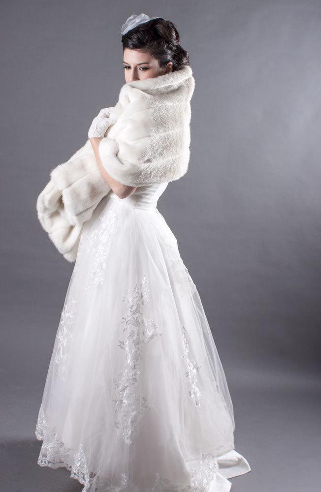 Hochzeit - Ivory Faux Mink Bridal Wrap