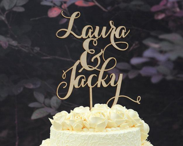 Mariage - Rustic Wedding Cake Topper Monogram Linden Wood Cake Topper Personalized with YOUR First Names Design 111