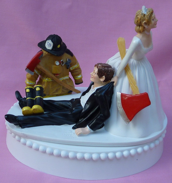 Mariage - Wedding Cake Topper Fireman Firefighter Fire Uniform Boots Axe Groom Themed w/ Bridal Garter Humorous Bride Reception Centerpiece Item Funny