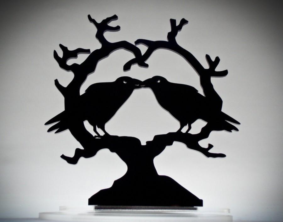 Mariage - Kissing Raven Heart Crow Cake Topper, 'Nevermore' Wedding Keepsake Topper, Dark Night Blackbirds Gothic Couple *Original Design*