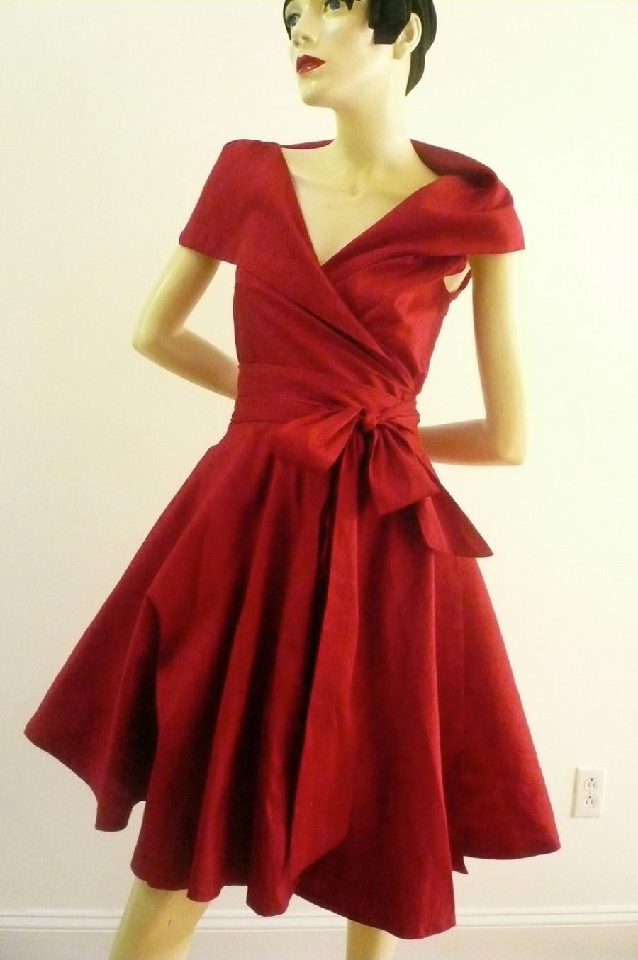 Custom Made MARIA SEVERYNA Double Wrap Full Skirt Dress 1950s Style ...