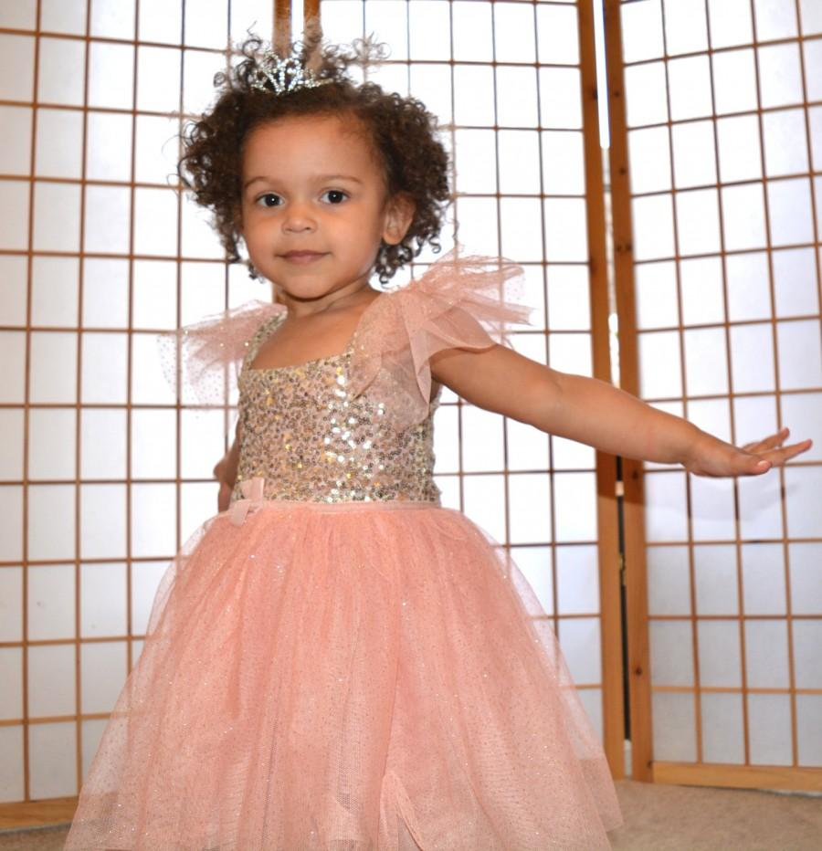 a99fe760926a9 Pink Glitter Or Ivory Gold Sequin Princess Birthday Party Flower ...