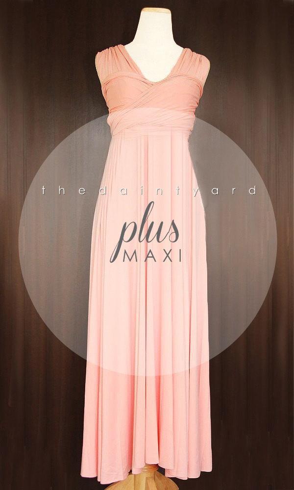 Hochzeit - MAXI Plus Size Peach Bridesmaid Dress Convertible Dress Infinity Dress Multiway Dress Wrap Dress Wedding Dress Twist Dress Prom Dress
