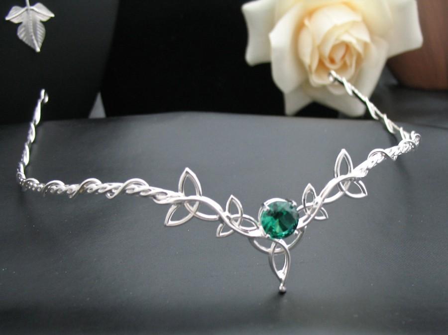 Hochzeit - Wedding Bridal Celtic Headpiece Circlet, Trinity Knot Design, 10mm Faceted Gemstone, Sterling Silver Handmade