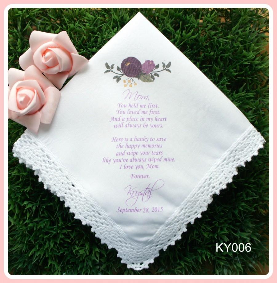 Hochzeit - Mother of the Bride Hankerchief-Purple floral-Wedding Handkerchief-PRINTED-CUSTOMIZED-Wedding-Mother of the Groom-Wedding Gift-hankies