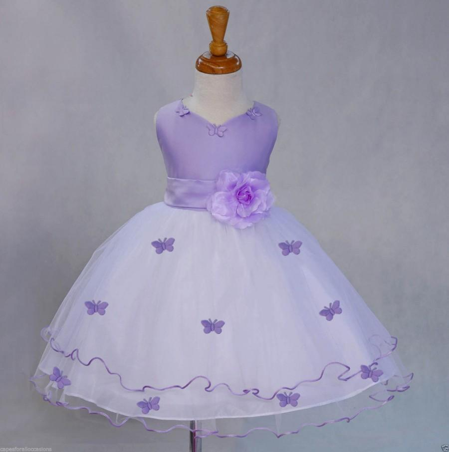White lilac flower girl butterfy tulle dress tie sash pageant white lilac flower girl butterfy tulle dress tie sash pageant wedding bridal recital children toddler size 12 18m 2 4 6 8 10 mightylinksfo