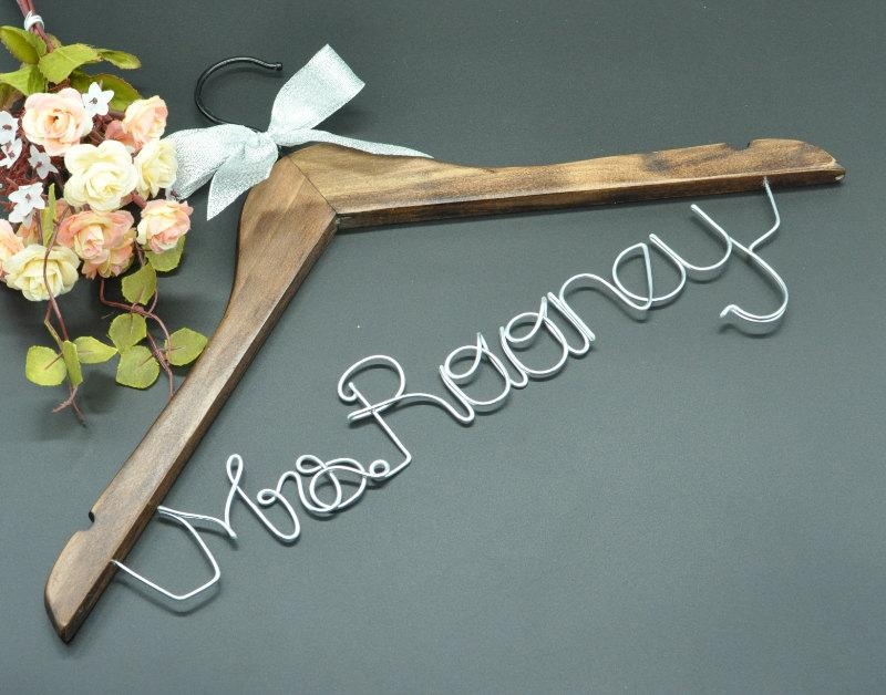 Personalized Wedding Hanger Wire Name Bride Dress Bridal Bridesmaids Rustic