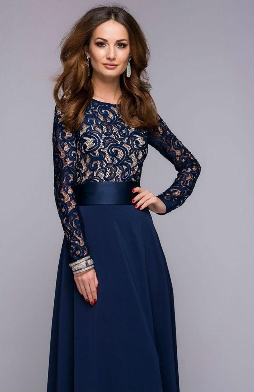 Ladies Night-Chic Blue Maxi Evening Dress,Lace Top Wedding Dress ...