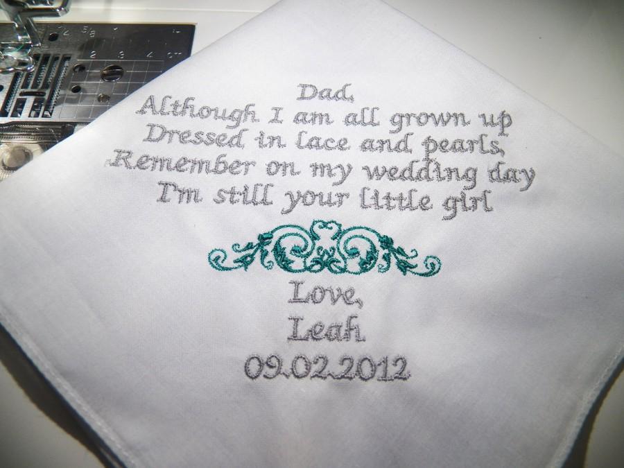 Wedding - Personalized  father of the Bride Handkerchief Wedding Keepsake