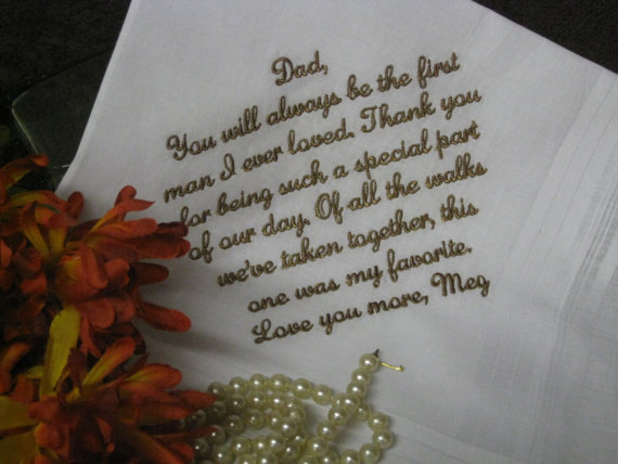 Mariage - Personalized Wedding Handkerchief To Dad