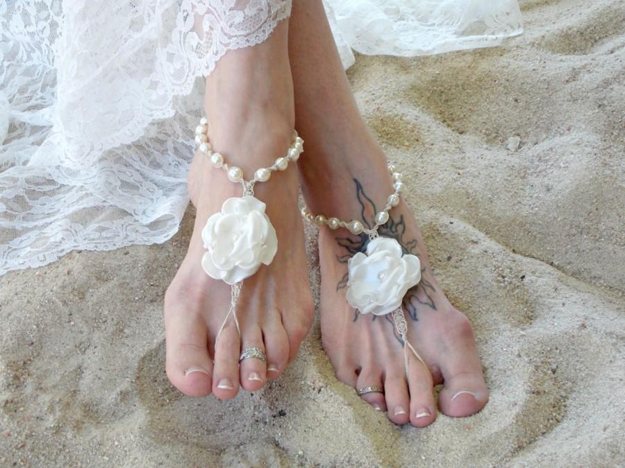 6ed9f560bd1 Wedding Barefoot Sandals Satin Flower Pearls Bridal beach sandals Barefoot  Jewelry Bride wedding Shoes toe thong Hemp handmade sandals Ivory