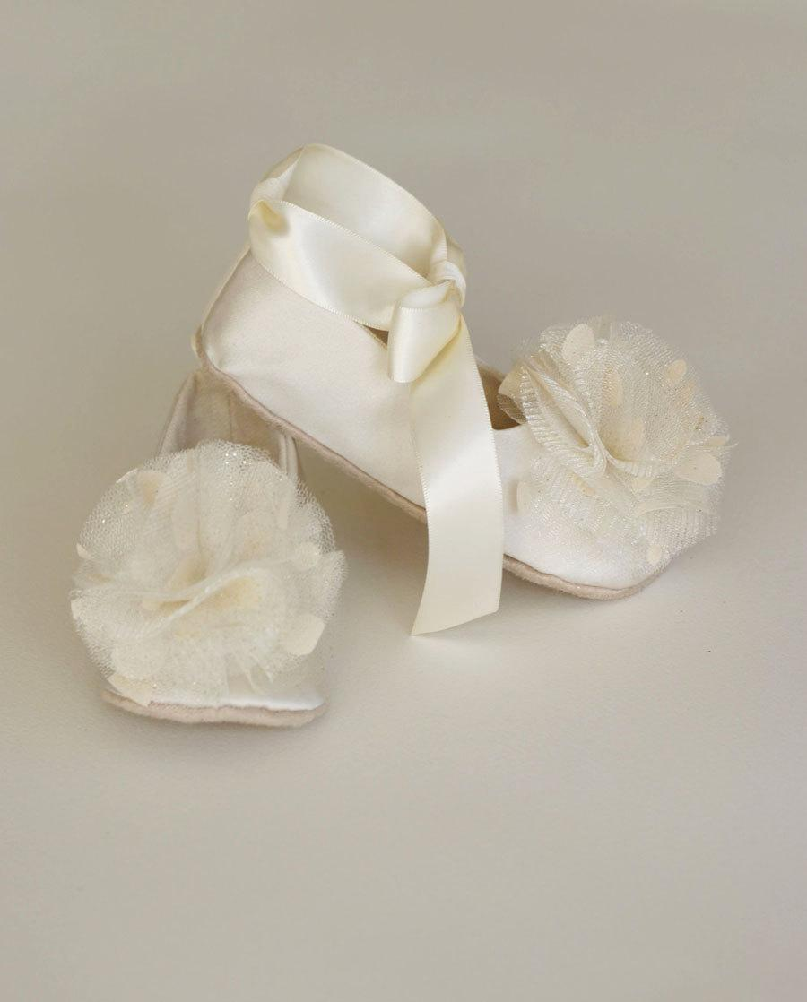 Ivory Satin Flower Girl Shoe - 23 Colors - Ivory Baby Ballet Flat ...