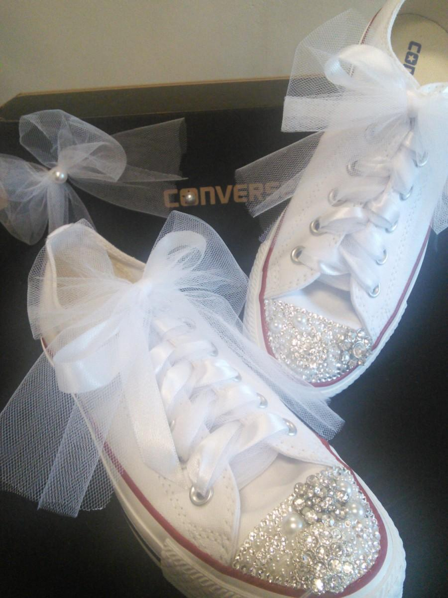 Wedding Shoes Bridal Sneakers Bling Flats Converse Custom