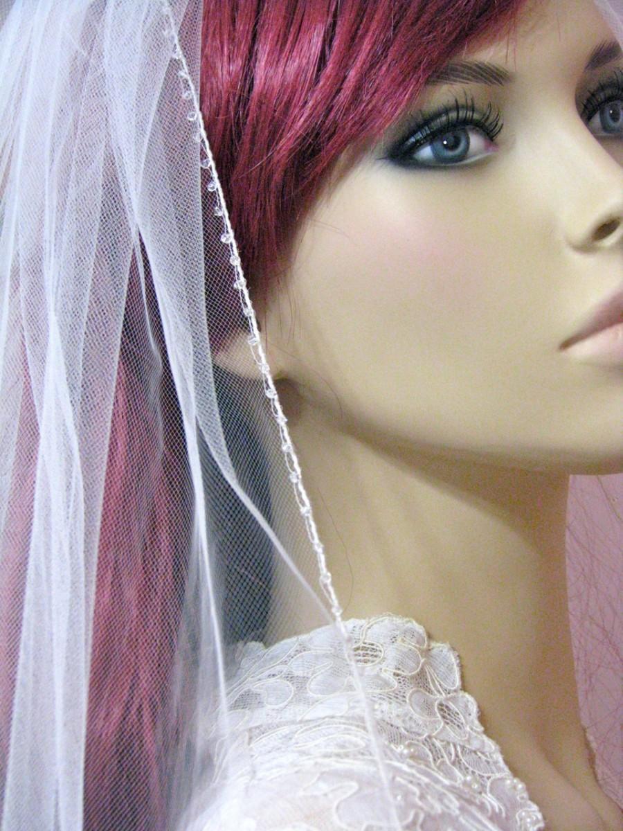 Свадьба - Crystal Sparkle Edge Wedding Veil Fingertip Length