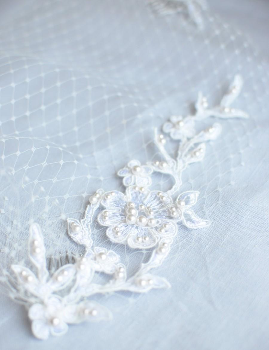 Свадьба - Birdcage Veil with Hand Beaded Lace, Bandeau Veil with Lace and Pearls, Bird Cage Veil with Lace, Lace Veil, Netting, French Net,Ivory