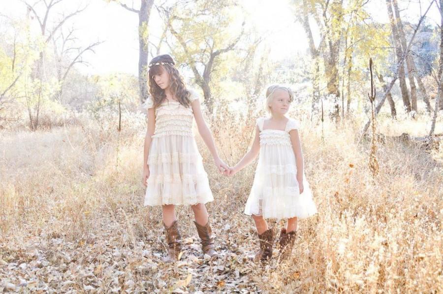 Wedding - Ivory Champagne Lace Flower Girl Dress -Rustic Flower Girl Dress -Country Chic Flower Girl Dress - Shabby Chic Flower Girl Dress - Country