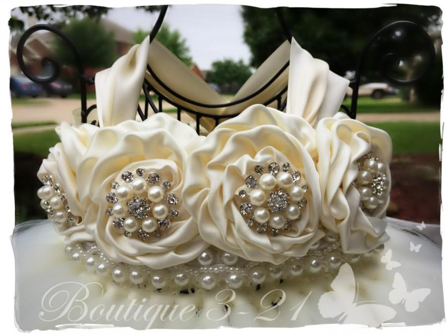 Wedding - Ivory Flower Girl Dress, Ivory tutu dress, Flower Girl Tutu Dress, Wedding tutu dress, Ivory and pearls flower girl tutu dress, flower girl