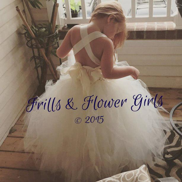 Wedding - Ivory Flower Girl Dress Lace Halter Tutu Dress Flower Girl Dress Sizes 2, 3, 4, 5, 6 up to Girls Size 12