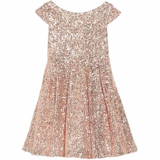 Wedding - Full sequin flower girl or child's dress with short sleeves, rounded neck and flared skater skirt