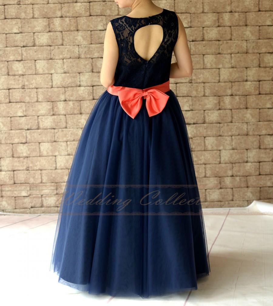 Navy Blue Lace Flower Girl Dress Floor Length With Coral Sash And