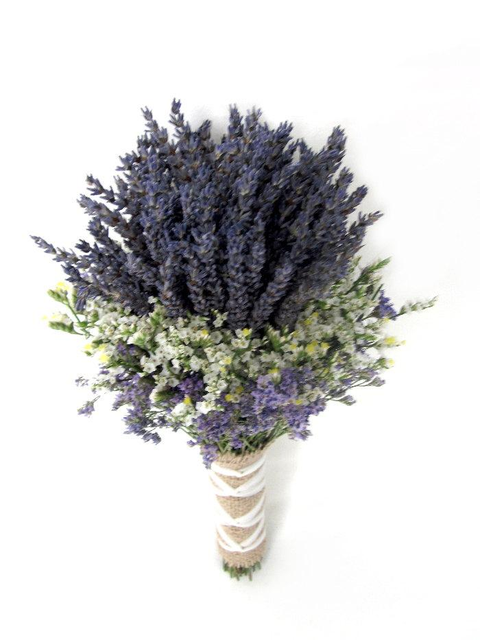 Hochzeit - Organic Dried Lavender Wedding Bouquet - Gross Blue- Bridal bouquet - Bridesmaid Bouquet - burlap, navy  tulle Or Ivory Ribbon wrapped