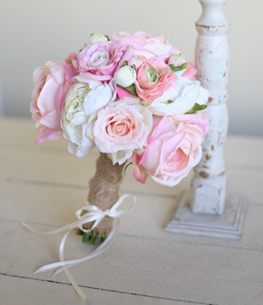 Hochzeit - Silk Bridal Bouquet Roses Peonies Burlap Rustic Chic Decor NEW 2014 Design by Morgann Hill Designs