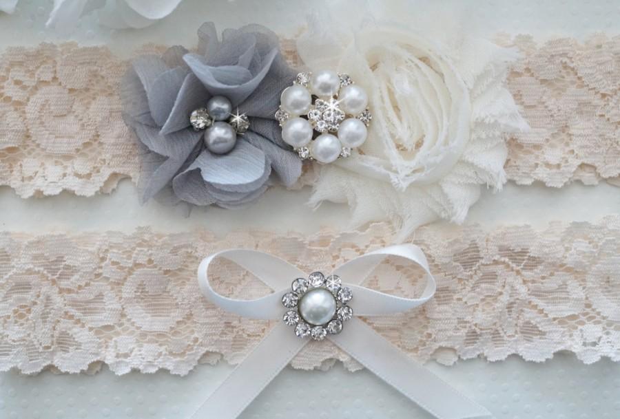 Свадьба - Wedding Garter Set, Pearl and Rhinestone Garter Set, Gray Wedding Garter - Style L235
