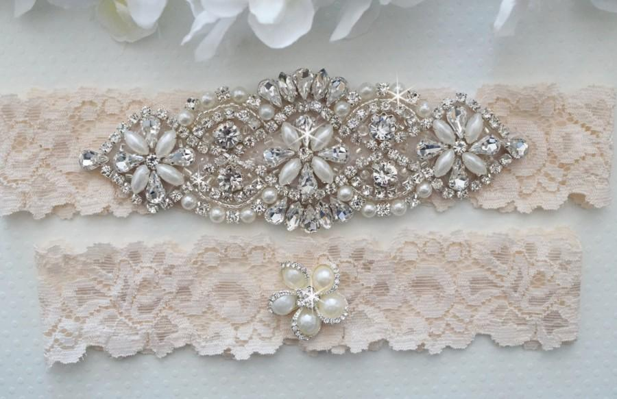 Свадьба - Wedding Garter Set, Pearl and Rhinestone Garter Set, Ivory Lace Garter Set - Style L200