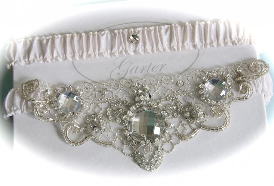 Свадьба - Ivory Bridal Garter Set  with Crystal Beaded and Platinum Embroidered Centering  Trim