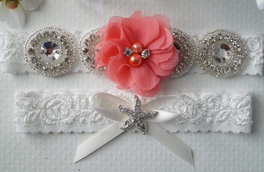 Свадьба - Beach Wedding Garter, Starfish Garter, Keepsake Garter, Beach Wedding, Coral Bridal Garter - Style L233