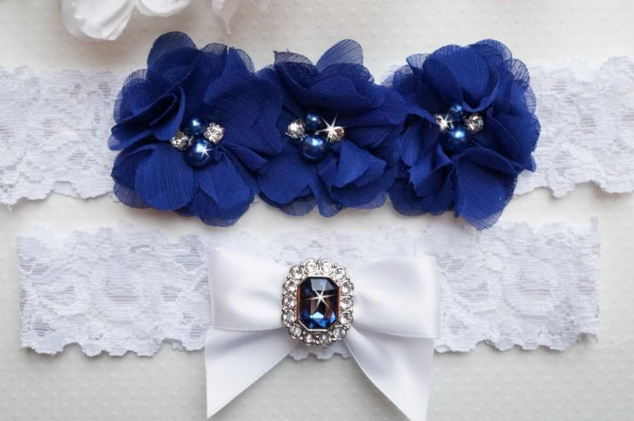 Свадьба - Something Blue Garter Set, Blue Bridal Garter, White Lace Garter Set, Wedding Garter Set, Ivory Garter Set- Style L230