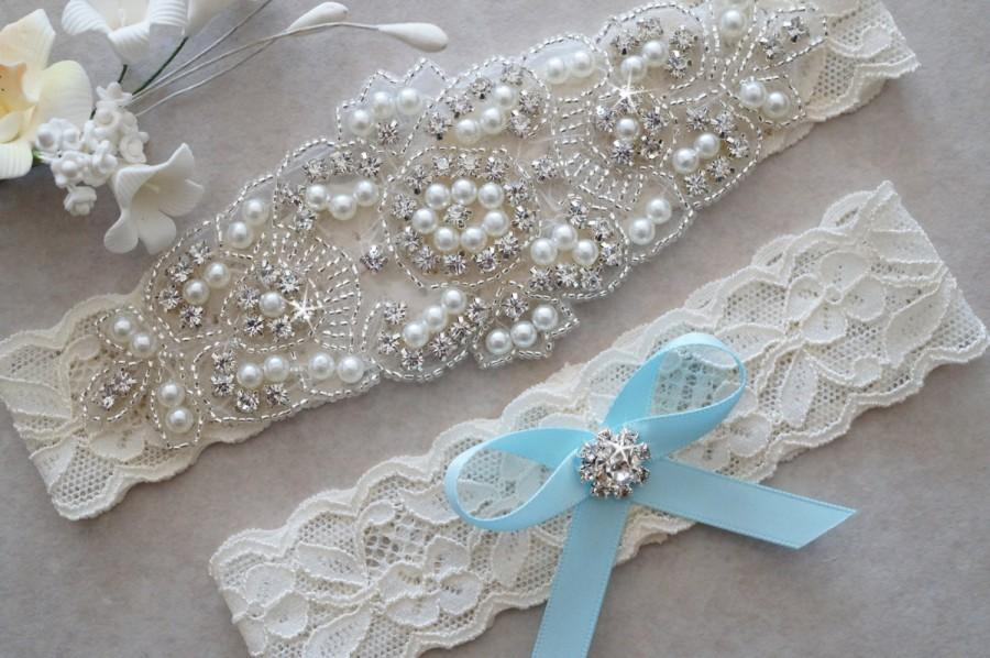 Wedding - CLAIRE Style A-Wedding Garter - Bridal Garter - Pearl and Crystal Rhinestone Garter - Wedding Garter Set