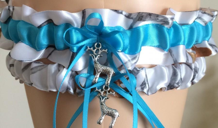 a0a080ecc91 True Timber Snowfall Turquoise Camouflage Wedding Garter Set