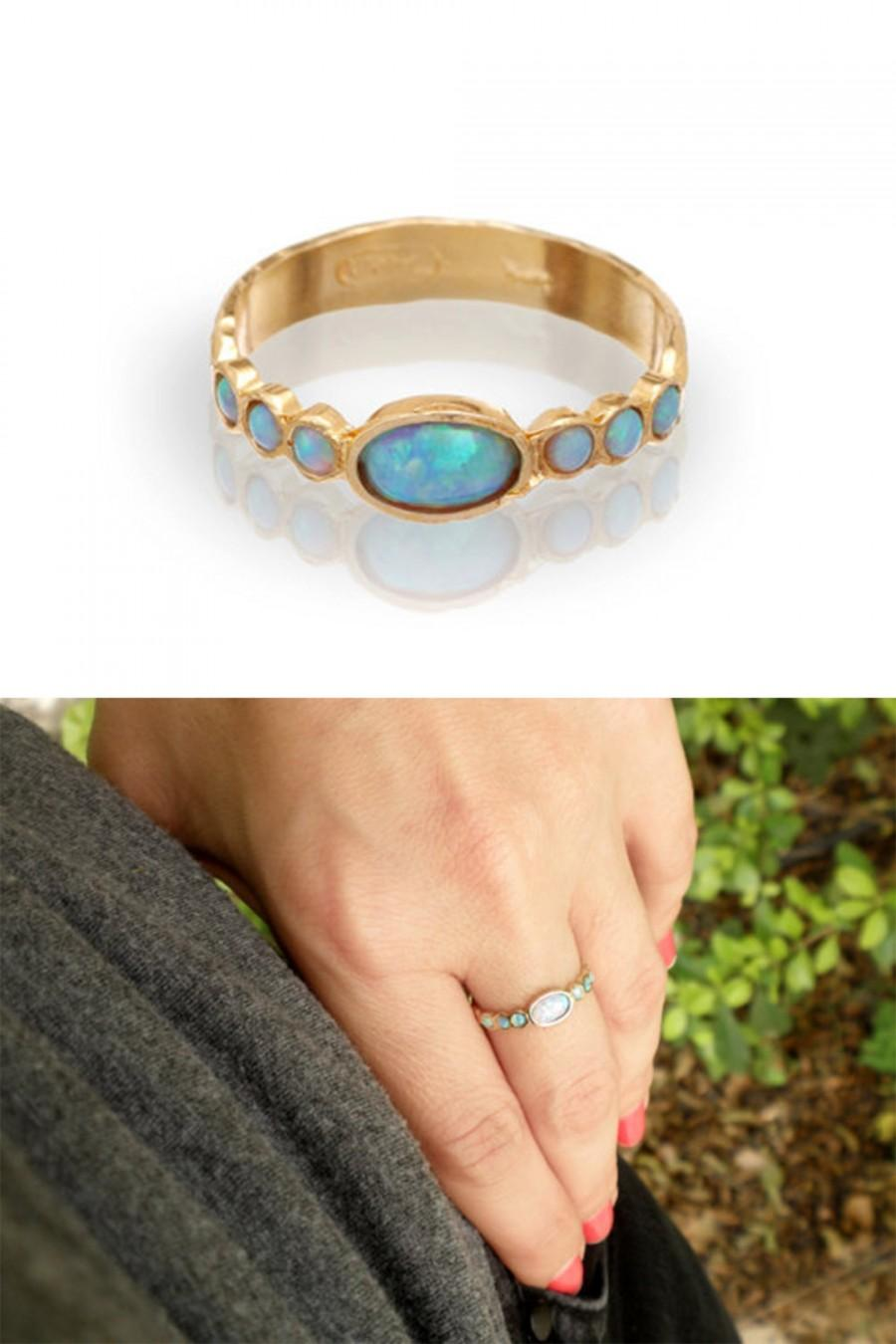 Mariage - Blue Opal - Gold Rings - 14k Yellow Gold plated Over Brass - Gemstone Band Oval Stone-Birthstone Rings - Bezel Rings-Bridesmaid Gift