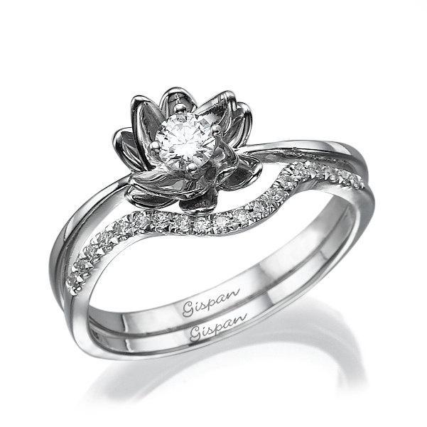 زفاف - Flower Engagement Set In White Gold with diamonds ,Diamonds Set, Gold Set Rings, Wedding rings , Wedding Set, Flower Ring, Flower Jewelry