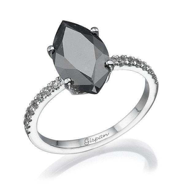 marquise black diamond engagement ring white gold with white diamonds marquise ring solitaire ring antique ring vintage ring - Black Diamond Wedding Rings For Women