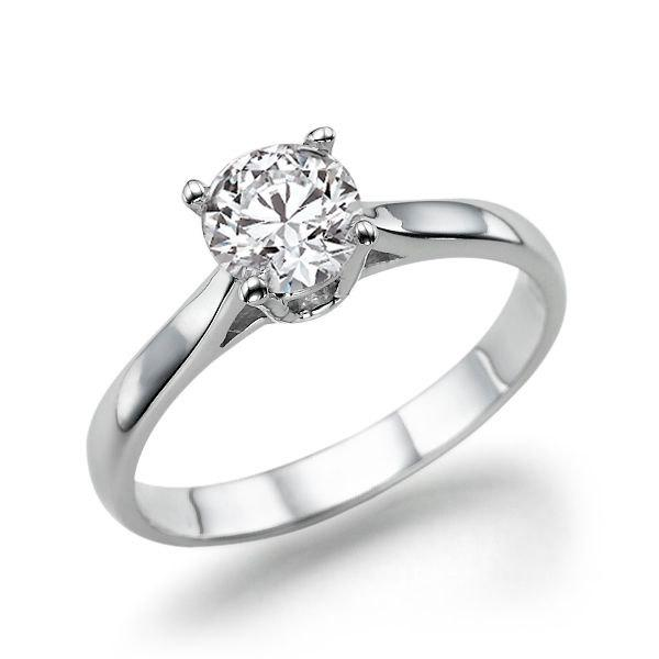 Solitaire Engagement Ring, Diamond Ring, 14K White Gold Ring, Solitaire Ring,  0.7 CT Diamond Ring Band, Gold Rings for Women