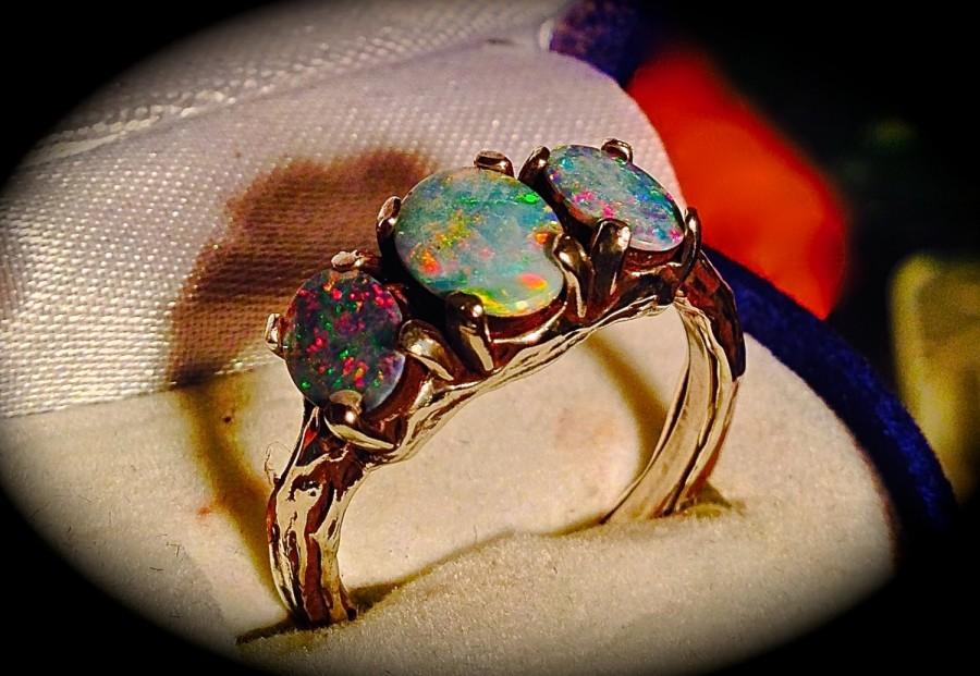 opal set ring genuine natural diamond bridal il round engagement rings halo rose gold listing fullxfull wedding fire