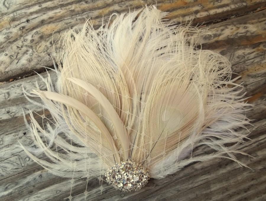 Wedding - Ivory Fascinator, Wedding Hair Clip, Bridal Hair Clip, Ivory Peacock Hair Clip, Bridal Fascinator, Wedding Fascinator, Bridal Head Piece