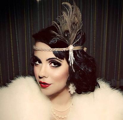 Great Gatsby Headpiece Champagne Feather Fascinator