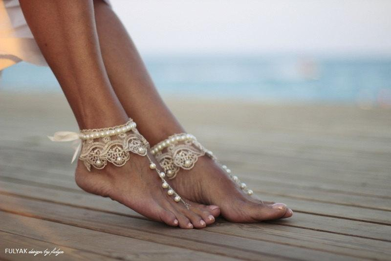 Wedding - Dance of the pearls with champagne frilly guipure beach wedding barefoot sandals, bangle, wedding anklet,nude shoes,boho sandal,cuff
