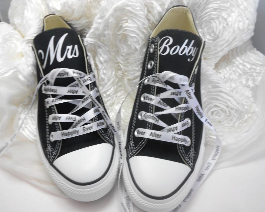 Wedding - Custom Wedding Converse - Personalized Mrs. Wedding Shoes - Bridal Shoes - Mr and Mrs Shoes - Wedding Gifts - by Bandana Fever