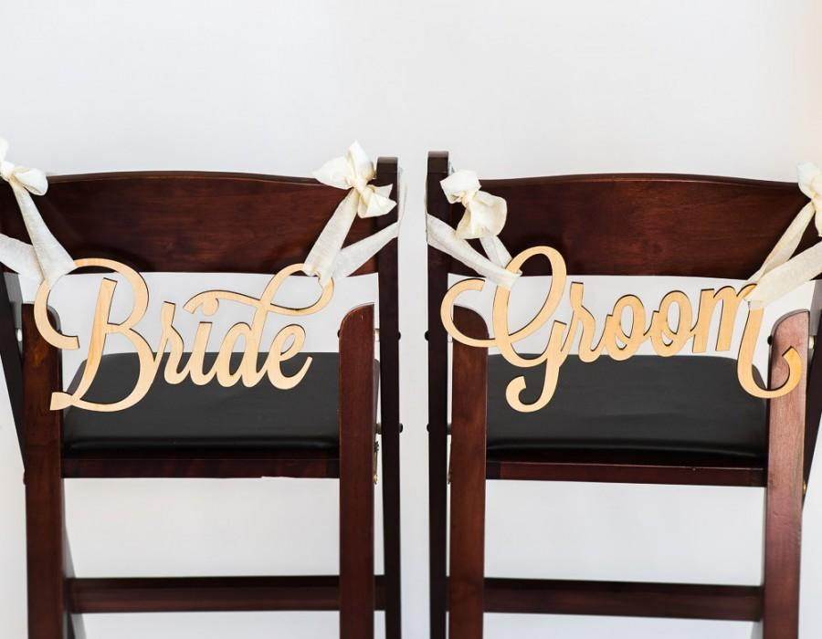 Bride and Groom Chair Signs for Wedding Hanging Chair Signs Wooden Wedding Signs Bride u0026 Groom (Item - LBG200) & Bride And Groom Chair Signs For Wedding Hanging Chair Signs Wooden ...