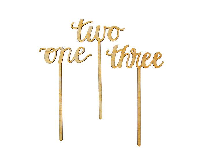 Calligraphy Script Wood Table Numbers Or Cake Toppers